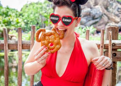road trip eating mickey pretzel